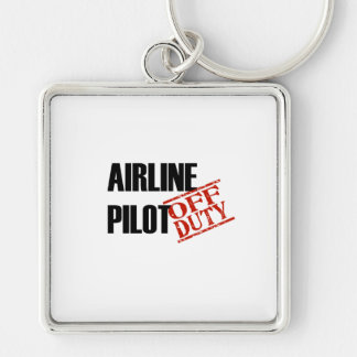 Airline Pilot Light Silver-Colored Square Key Ring