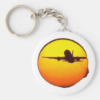 AIRLINE SUN BASIC ROUND BUTTON KEY RING