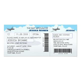 Airline Ticket Bar Bat Mitzvah Custom Invitation
