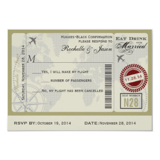 Airline Ticket Wedding RSVP 9 Cm X 13 Cm Invitation Card