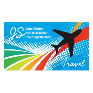 Airline Vacation Travel Abstract Halftone Business Card Template