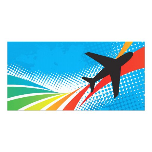 Airline Vacation Travel Abstract Halftone Photo Card