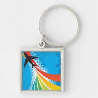 Airline Vacation Travel Abstract Halftone Silver-Colored Square Key Ring