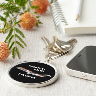 Airliner monogram Silver-Colored round key ring