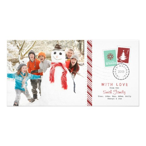 Airmail Candy Cane Holiday Family Photo Greeting Photo Card Template
