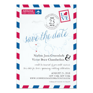 Airmail Heart New York and Colombia Save the Date 13 Cm X 18 Cm Invitation Card
