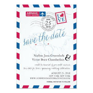 Airmail Heart New York and Italy Save the Date 13 Cm X 18 Cm Invitation Card