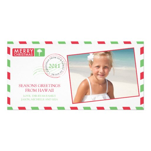 Airmail Holiday Greeting Card Personalized Photo Card