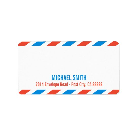 Airmail label template address label