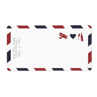 Airmail Label with Return Address Shipping Label