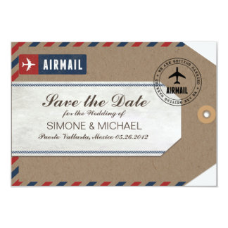 Airmail Luggage Tag Wedding Save Date Kraft Paper 9 Cm X 13 Cm Invitation Card
