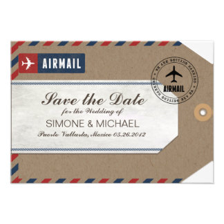 Airmail Luggage Tag Wedding Save Date Kraft Paper Announcement