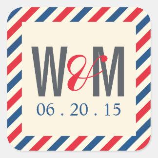 Airmail Monogram Wedding Favour Sticker