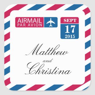 Airmail Wedding Square Sticker