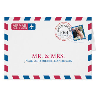 Airmail Wedding Thank You Note Card