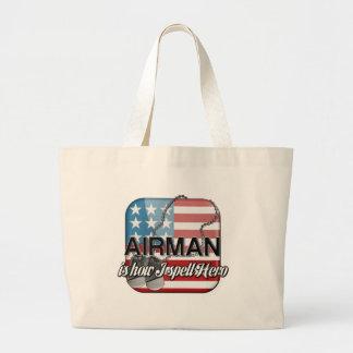 Airman is how I spell Hero Jumbo Tote Bag