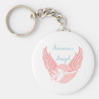 Airman's Angel Basic Round Button Key Ring