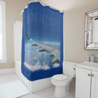Airplane above the Clouds (customizable) Shower Curtain
