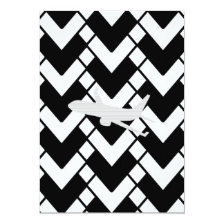 Airplane - Abstract geometric pattern - black. Card