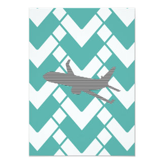 Airplane - Abstract geometric pattern - blue. Card