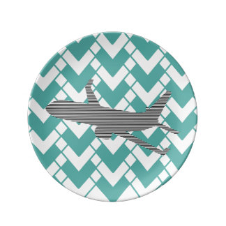 Airplane - Abstract geometric pattern - blue. Plate