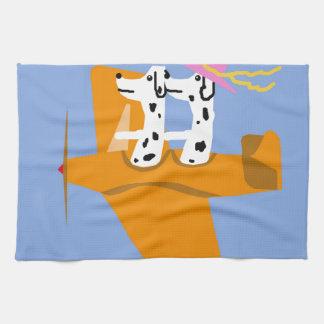 Airplane and Dalmatians Tea Towel