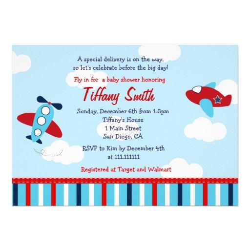 Airplane Aviator Baby Boy Baby Shower Invitations