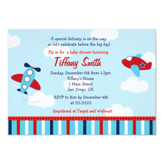 Airplane Aviator Baby Boy Baby Shower Invitations