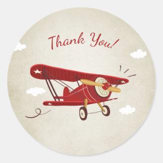 Airplane baby shower favor tag Sticker Adventure