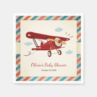 Airplane Baby Shower Napkin Adventure Travel Plane Disposable Napkin
