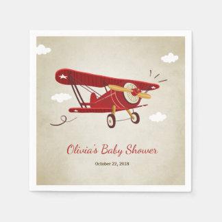 Airplane Baby Shower Napkin Adventure Travel Plane Disposable Serviette