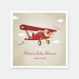 Airplane Baby Shower Napkin Adventure Travel Plane Disposable Serviettes