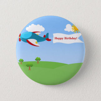 Airplane Banner Boy Birthday Button