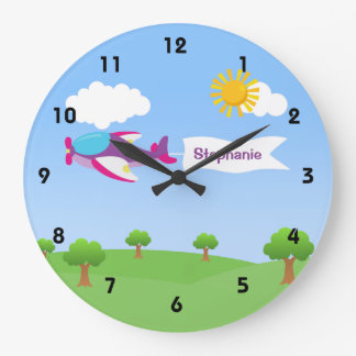 Airplane Banner Girl Wall Clocks