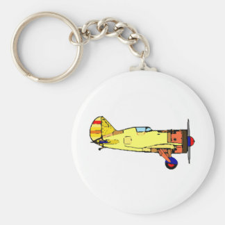 airplane basic round button key ring