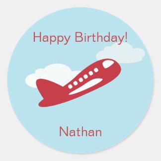 Airplane Birthday Cupcake Toppers/Stickers Round Sticker