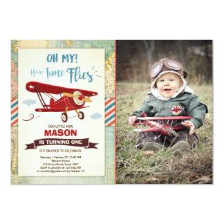 Airplane Birthday Invitation Time flies Plane Boy
