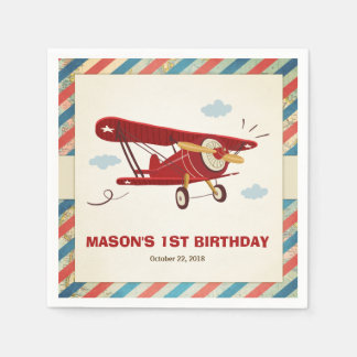 Airplane Birthday Napkins Adventure Travel Plane Paper Serviettes