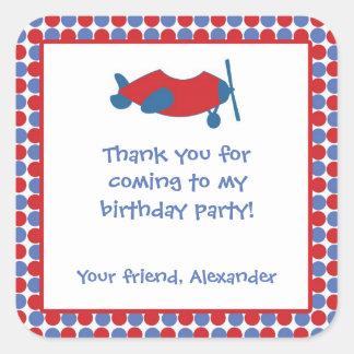Airplane Birthday Party Favor Sticker Red Blue