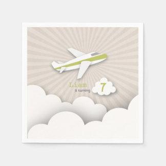 Airplane Birthday Party - Green Disposable Serviette