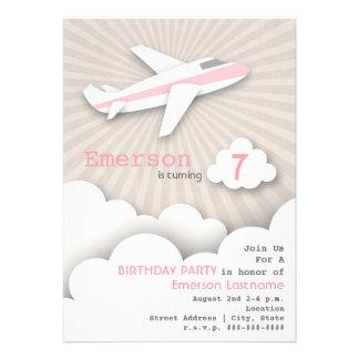 Airplane Birthday Party Invitation - Pink