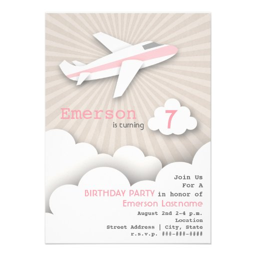 Airplane Birthday Party Invitation - Pink