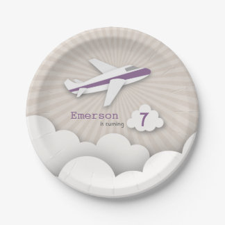 Airplane Birthday Party - Purple Paper Plate