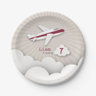 Airplane Birthday Party - Red Paper Plate