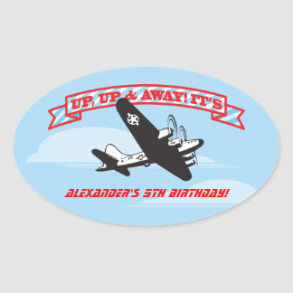 Airplane BIrthday Party Stickers with clouds
