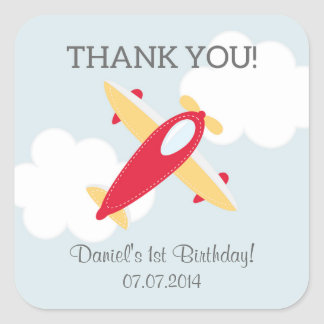 Airplane Birthday Thank You Stickers