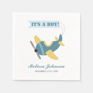 Airplane Blue Yellow Boy Baby Shower Disposable Serviette