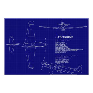 Airplane Blueprints | P-51 Mustang Poster