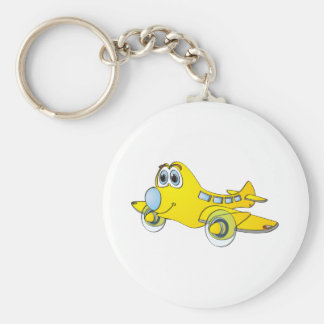 Airplane Cartoon Basic Round Button Key Ring
