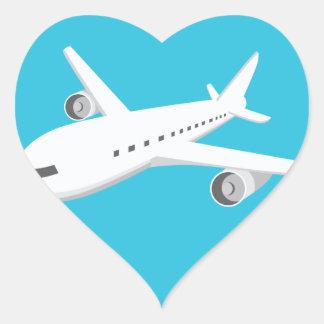 Airplane Cartoon Heart Sticker